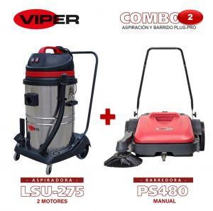 Combo Viper N#2 Aspiración y Barrido Plus-Pro: Aspiradora de 2 motores LSU275 + Barredora Manual PS480