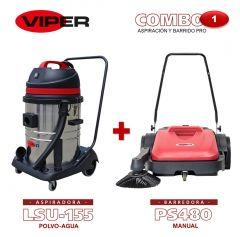 Combo Viper N#1 Aspiración y Barrido Pro: Aspiradora LSU155 + Barredora Manual PS480