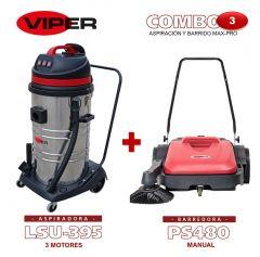 Combo Viper N#3 Aspiración y Barrido Max-Pro: Aspiradora de 3 motores LSU395 + Barredora Manual PS480