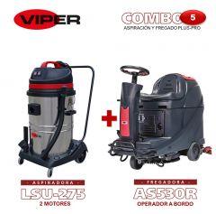 Combo Viper N#5 Aspiración y Fregado Plus-Pro: Fregadora AS530 R + Aspiradora de 2 motores LSU275