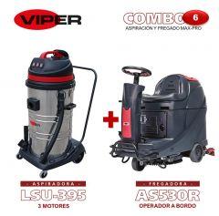 Combo Viper N#6 Aspiración y Fregado Max-Pro: Fregadora AS530 R + Aspiradora de 3 motores LSU395
